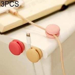 3 PCS Macaroon Shape Cable Clip Grip Desk Wall Organizer Desktop Wire Cord Type USB Charger Holder