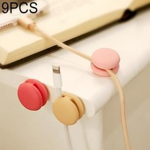 9 PCS Macaroon Shape Cable Clip Grip Desk Wall Organizer Desktop Wire Cord Type USB Charger Holder