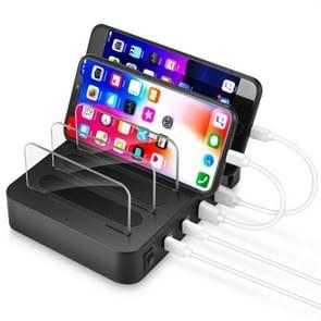 Multifunctionele AC 100V ~ 240V Output 4 ports USB-C / Type-C dubbel PD afneembare Station slimme lader  opladen QC3.0(Black) ondersteuning