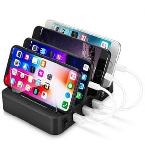 Multi-function AC 100V~240V Output 4 Ports USB Detachable Charging Station Smart Charger (Black)
