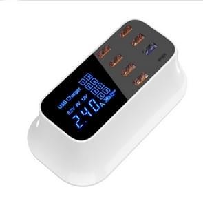 Multi-function AC 110V~240V 8 Ports USB Digital Display LCD Detachable Charging Station Smart Charger (White)