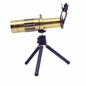 Externe 20 X telefoon Lens voor mobiele telefoon met statief (goud)