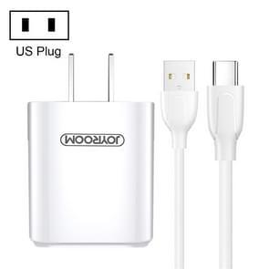 JOYROOM L-M226 2.4A Dual USB Travel muur lader Power Plug Adapter  met USB-C / kabel Type-C  Amerikaanse Plug(White)