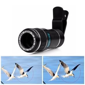 HK019 mobiele telefoon 12X zoom optische zoom telescoop lens set met clip