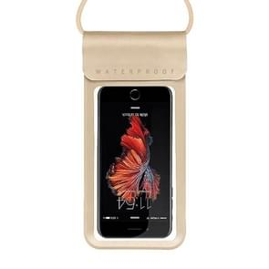 Outdoor Diving Swimming Mobile Phone Touch Screen Waterproof Bag for Below 5 Inch Mobile Phone (Gold)
