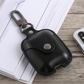 Bluetooth dikker Cover anti-drop stofdichte gesp Bluetooth koptelefoon PU lederen Case voor Airpods (zwart)