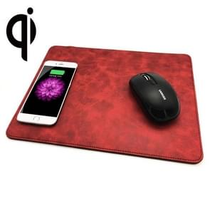 5V 1A Output multifunctionele lederen muis Pad Qi Wireless Charger  steun Qi standaard telefoons  grootte: 310 * 230 * 5 mm voor de iPhone  Galaxy  Huawei  Xiaomi  LG  HTC en andere QI standaard Smart Phones (rood)