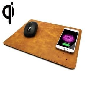 5V 1A Output multifunctionele lederen muis Pad Qi Wireless Charger  steun Qi standaard telefoons  grootte: 310 * 230 * 5 mm voor de iPhone  Galaxy  Huawei  Xiaomi  LG  HTC en andere QI standaard Smart Phones (geel)