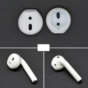 2 PCS Wireless Bluetooth Earphone Silicone Ear Caps Earpads for Apple AirPods (White)