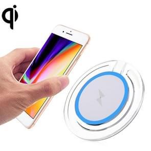 5V 1A Universal 5W transparant Frame snel Qi standaard draadloze oplader met Indicator licht voor iPhone  Galaxy  Huawei  Xiaomi  LG  HTC en andere QI standaard Smart Phones (blauw)