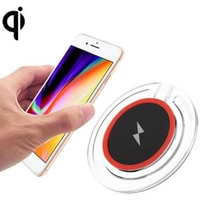 5V 1A Universal 5W transparant Frame snel Qi standaard draadloze oplader met Indicator licht voor iPhone  Galaxy  Huawei  Xiaomi  LG  HTC en andere QI standaard Smart Phones (rood)