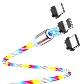 FLOVEME YXF204096 1m 2A USB naar 8 Pin + Micro USB + USB-C / Type-C Lichtgevende magnetische oplaadkabel(kleur)