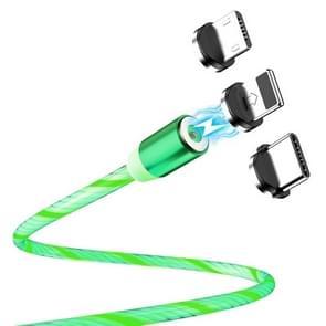 FLOVEME YXF204096 1m 2A USB naar 8 Pin + Micro USB + USB-C / Type-C Lichtgevende magnetische oplaadkabel(Groen)