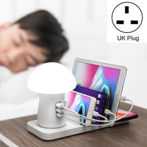 HQ-UD12 Universal 4 in 1 40W QC3.0 3 USB Ports + Wireless Charger Mobile Phone Charging Station with Mushroom Shape LED Light, Length: 1.2m, UK Plug(White)