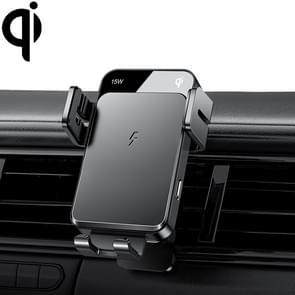 JOYROOM JR-ZS219 Drie-assige Car Air Outlet Wireless Charging Mobile Phone Bracket Holder (Zwart)