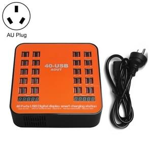 WLX-840 200W 40 Ports USB Digital Display Smart Charging Station AC100-240V, AU Plug (Black+Orange)
