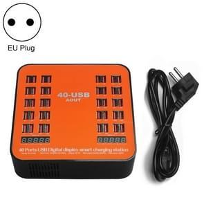 WLX-840 200W 40 Ports USB Digital Display Smart Charging Station AC100-240V, EU Plug (Black+Orange)