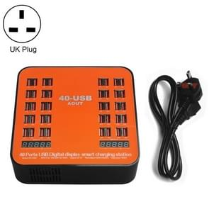 WLX-840 200W 40 Ports USB Digital Display Smart Charging Station AC100-240V, UK Plug (Black+Orange)