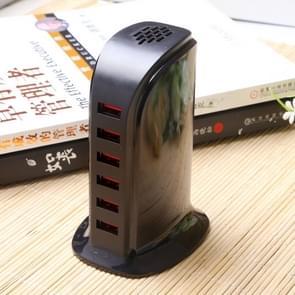 853L 30W 6 poorten USB snel opladen Dock slimme lader AC100-240V (zwart)