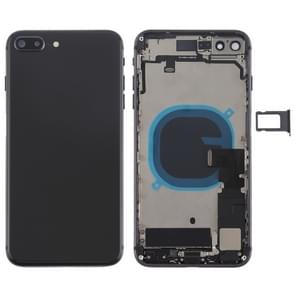 Batterij terug dekken vergadering met kant sleutels & Vibrator & Loud spreker & / uit-knop + Volume knop Flex kabel & kaarthouder voor iPhone 8 Plus(Black)
