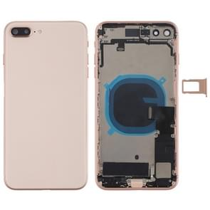 Battery Back Cover Assembly with Side Keys & Vibrator & Loud Speaker & Power Button + Volume Button Flex Cable & Card Tray for iPhone 8 Plus(Rose Gold)