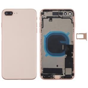 Batterij achtercover montage met Zijknop & vibrator & luidspreker & aan/uit-knop + volume knop Flex kabel & kaart lade voor iPhone 8 plus (Rose Gold)