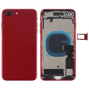 Battery Back Cover Assembly with Side Keys & Vibrator & Loud Speaker & Power Button + Volume Button Flex Cable & Card Tray for iPhone 8 Plus(Red)