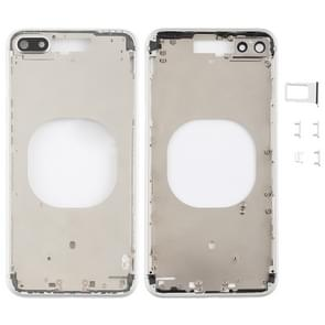 Transparent Back Cover with Camera Lens & SIM Card Tray & Side Keys for iPhone 8 Plus (White)