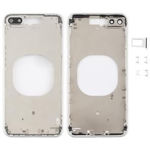 Transparante achtercover met camera lens & SIM-kaart lade & Zijkleutels voor iPhone 8 plus (wit)