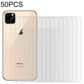 50 stuks voor iPhone 11 Pro Max 9H 2.5 D half-scherm transparante mobiele telefoon gehard glas film terug film