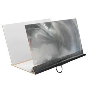 8 inch 3D Wood Grain PVC Folding Mobile Phone Screen Video Amplifier Desktop Stand(Black)