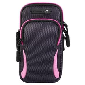 Multi-functional Universal Double Layer Zipper Sport Arm Case Phone Bag with Earphone Hole for 6.6 Inch or Below Smartphones (Pink)