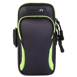 Multi-functional Universal Double Layer Zipper Sport Arm Case Phone Bag with Earphone Hole for 6.6 Inch or Below Smartphones (Green)