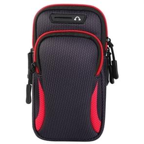 Multi-functional Universal Double Layer Zipper Sport Arm Case Phone Bag with Earphone Hole for 6.6 Inch or Below Smartphones (Red)