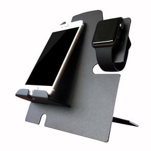 Apple Watch Stand With iPhone Dock - 2 in 1 Charging Station for All iWatch and Phone Models (Black)