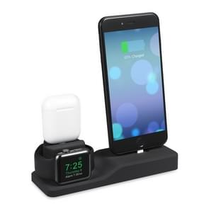 3 in 1 Premium Silicone Stand Charging Dock for AirPods & Apple Watch & iPhone (Black)