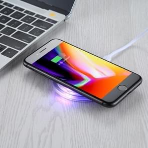 FANTASIE 5V 1A uitgang Qi standaard Ultra-thin draadloze oplader met opladen Indicator  steun QI standaard telefoons voor iPhone  Galaxy  Huawei  Xiaomi  LG  HTC en andere QI standaard Smart Phones (wit)