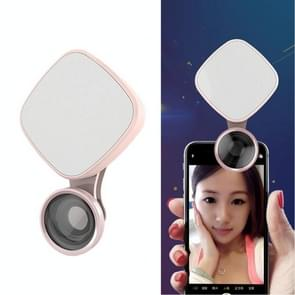 RK27 Mini LED 9 Modes 4600K Beauty Selfie Clip Fill Light with HD 3 in 1 Fisheye / Wide Angle / Macro Lens Phone Camera, Compatible with IOS and Android, for Live Broadcast, Live Stream, Beauty Selfie, etc(Pink)