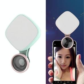 RK27 Mini LED 9 Modes 4600K Beauty Selfie Clip Fill Light with HD 3 in 1 Fisheye / Wide Angle / Macro Lens Phone Camera, Compatible with IOS and Android, for Live Broadcast, Live Stream, Beauty Selfie, etc (Green)