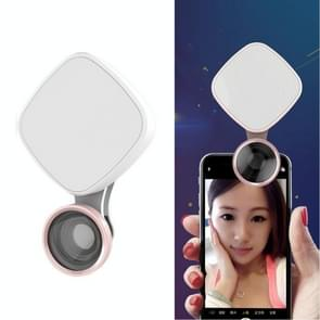 RK27 Mini LED 9 Modes 4600K Beauty Selfie Clip Fill Light with HD 3 in 1 Fisheye / Wide Angle / Macro Lens Phone Camera, Compatible with IOS and Android, for Live Broadcast, Live Stream, Beauty Selfie, etc (White)