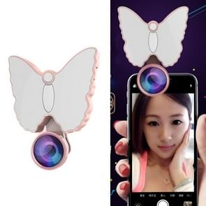 RK29 Butterfly Shape 126-LED 9 Levels Selfie Clip Fill Light with 3 in 1 Fisheye / Wide Angle / Macro Lens, Compatible with IOS and Android, for Live Broadcast, Live Stream, Beauty Selfie, etc (Pink)