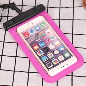 PVC Transparent Universal IPX8 Waterproof Bag with Lanyard for Smart Phones below 6.3 inch (Rose Red)
