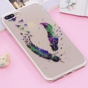 For iPhone 8 Plus & 7 Plus IMD Glitter Powder Feather Pattern Transparent TPU Cover Back Case
