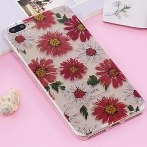 For iPhone 8 Plus & 7 Plus IMD Glitter Powder Daisy Pattern Transparent TPU Cover Back Case