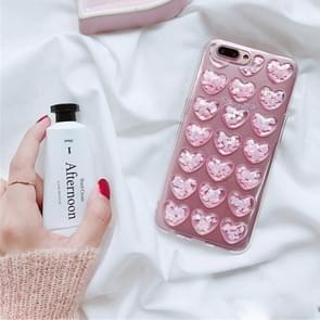 For iPhone 8 Plus & 7 Plus Fashion Shining Love Heart Pattern TPU Protective Back Cover Case(Pink)