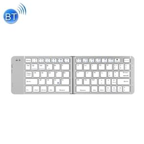 BlueFinger F88 2-Foldable Aluminum Alloy Bluetooth Keyboard for iOS, Android, Microsoft (Silver)