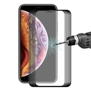 5 PCS ENKAY Hat-Prince 0.2mm 9H 3D Full Screen Carbon Fiber Tempered Glass Film for iPhone XS Max(Black)