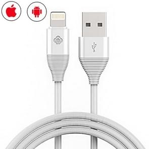 TOTUDESIGN 1.2m 2.1A 2 in 1 Micro USB & 8 Pin TPE Data Sync Charging Cable, For iPhone / iPad / Galaxy / Huawei / Xiaomi / LG / HTC / Meizu and Other Smart Phones(White)