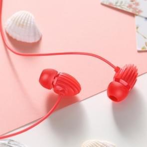 JOYROOM JR-EL112S conch II 3.5 mm plug bedrade bediening in-ear oortelefoon met mic  voor iPhone  iPad  Galaxy  Huawei  Xiaomi  LG  HTC en andere smartphones (rood)