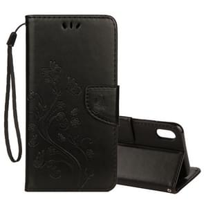 Embossed Butterfly Pattern Horizontal Flip Leather Case with Card Slot & Holder & Wallet & Lanyard For iPhone XR (Black)